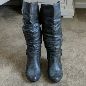 Gray slouchy heeled boots by Madden Girl